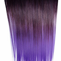 Ombré Lavender II Dip Dyed 7pcs Straight Clip-In Hair Extensions