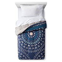 Room Essentials Colorblock Dorm Bed Comforter XL Twin (Washed Indigo/Medallion)
