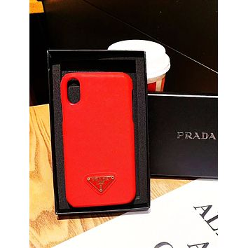 PRADA new all-inclusive anti-fall tide brand iphone xs max mobile phone case red