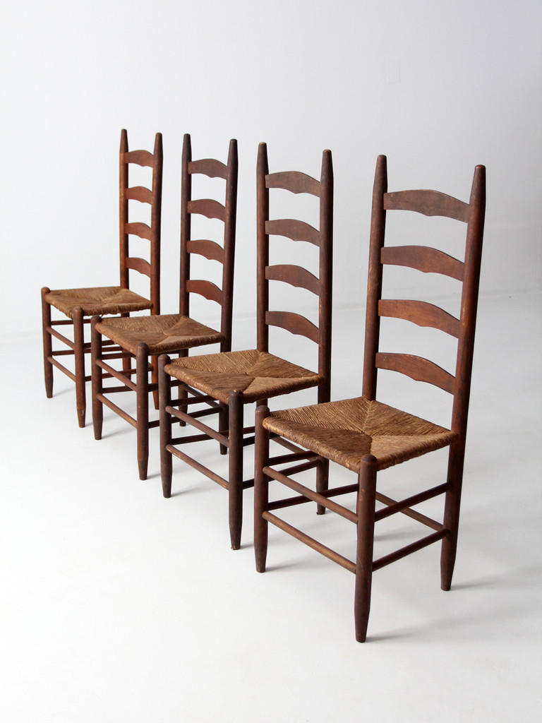 Antique ladder back chairs with rush seat from 86 vintage Ladder back chairs