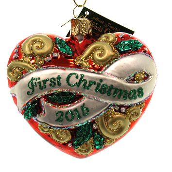 Old World Christmas First Christmas Heart 2015 Glass Ornament