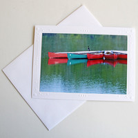 Canoes with Cormorant Photo Greeting Card, Lake Scene with Bird, Fine Art Photography, All Occasion Notecard, Reflection of Boats on Water