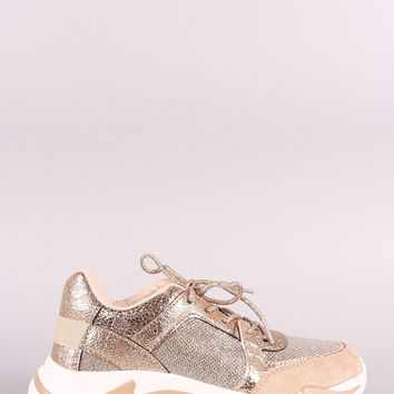 Qupid Glitter Mesh Trim Lace Up Sneaker