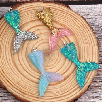 2pcs Unique Colorful Fish Mermaid Tail Resin Pendant Finding Cute Diy Earrings Necklace Charms Handmade Jewelry Accessories F31
