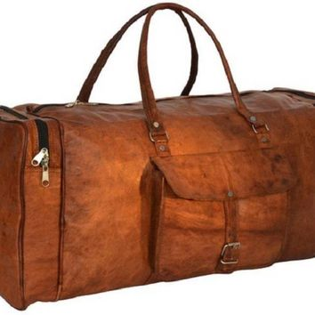 IN-INDIA Pure Leather Modern Square 22 Inches Ultra Light Duffel Bag - High Quality Leather