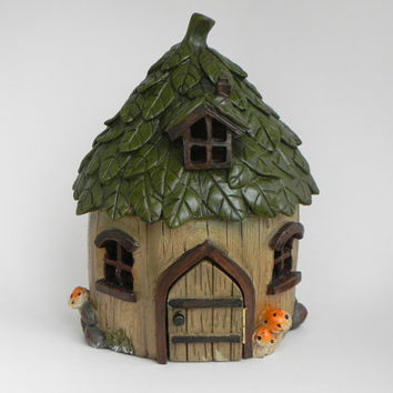 Fairy House Large, Fairy Garden Cottage, Leaf Roof, Miniature Garden Accessories, Fairy Garden Supply, Handcrafted Welcome or Believe Sign
