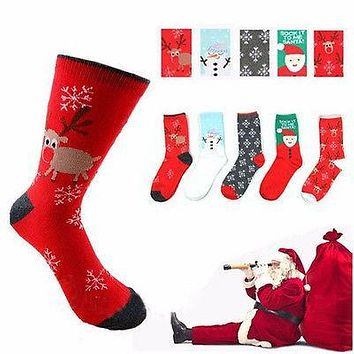 Womens Mens Socks Christmas Gift Cotton Cute Snowman Santa Claus Snowflake Socks