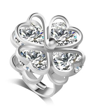 F&U Women High Quality Fashion Unique Design Hollow Heart Shaped Flower Zircon Fashion Ring for Party