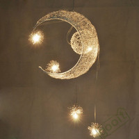 Aluminium Wire Moon Star Featured Pendant Lamps with 5 Lights G4 Lighting Chandeliers blubs