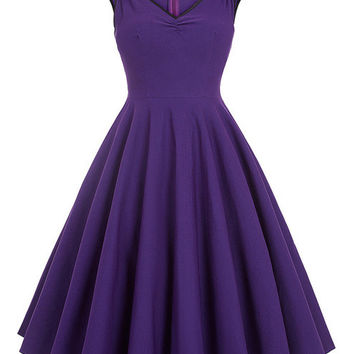 Women Dress 2017 Robe Sexy V Neck Purple Blue Tunic Casual Party Midi Pleated Dress Jurken 1950s Retro Vintage Rockabilly Dress