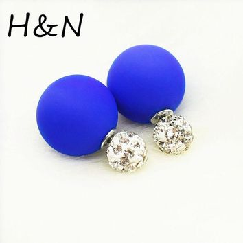 LMFONHS 2017 new Crystal two ball Earring Hiphop Double side Stud Earring Shamballa Korea rhinestone brinco lovely d'oreille Jewelry