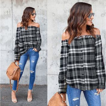 Women's Plaid Sexy Off Shoulder Long Sleeve Single-breasted T-Shirt Tops Blouse