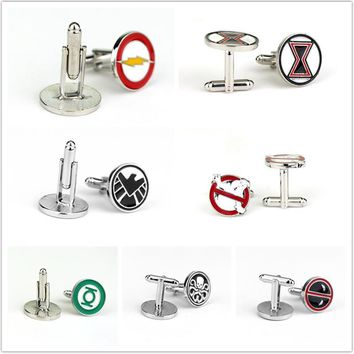 Deadpool Dead pool Taco Fashion Jewelry Ghostbusters  Green Lantern Flash Cufflinks Mens Shirt Cuff Button Gifts for Men AT_70_6