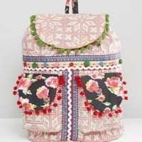 Glamorous | Glamorous Embroidered Backpack With Pom Pom Trim at ASOS