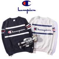 """CHAMPION"" Unisex Couple Print Multicolor Velvet Pullover  Top Sweater"