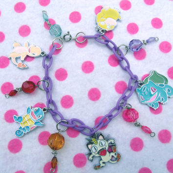 Kawaii Pokemon Charm Bracelet by hobbittownjewelry on Etsy
