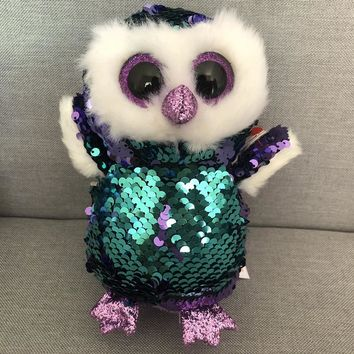 Ty 6'' 15cm Beanie Boos Owl Unicorn Penguin Poodle Dog Fox Dragon Bat Plush Stuffed Animal Doll Toy