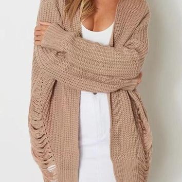 Khaki Plus Size Ripped Destroyed Knit Cardigan Sweater