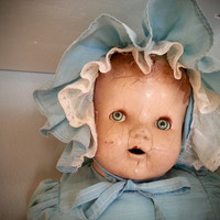 Antique soft body composition doll with sleeping eyes, creepy ideal doll sleep eyes, blue dress baby girl doll