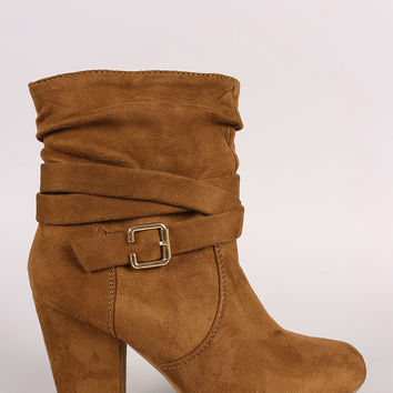 Slouchy Suede Buckled Ankle Strap Chunky Heeled Booties