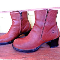 90s ankle boots womens 7 / Timberland / chunky boots / cognac brown leather / cushioned soles