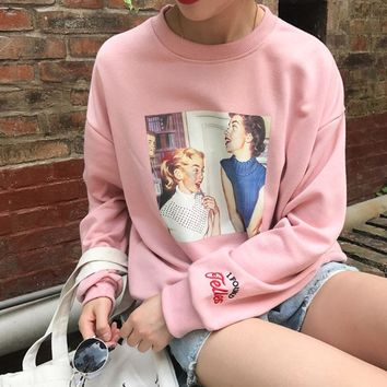 2018 Autumn New College Wind Vintage Character Printed Letter Emboridered Long Sleeve Cotton Casual Female Sweatshirts