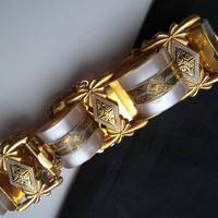 ON SALE Mid Century Damascene Bracelet Mother of Pearl Collectible Vintage Mop 1950's 1960's Exquisite Beautiful Jewelry