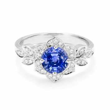 Delicate Lily Ring, Art Deco Flower Ring, Diamonds and Blue sapphire Engagement Ring, Vintage Rings, Unique Leaf Ring