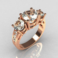 Contemporary 14K Rose Gold Three Stone 225 Carat by artmasters