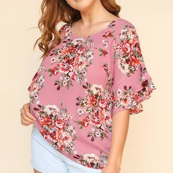 Floral Print Layered Ruffle Sleeve Top - Dusty Rose