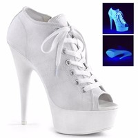 White Platform Canvas Sneakers 6 Inch Heels- Stripper Shoes