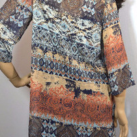 Spanish Swirl Sheer Cardigan-Hi Lo- Rust Multi