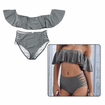 Solid Sexy Falbala bandeau bikini Bandeau Ruffled swimwear swimsuit women high waist bikini set bathing suits Free Shipping