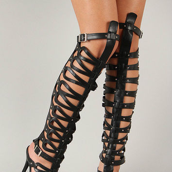 BRECKELLES DIVA-22 Knee High Gladiator Cage Heels Sandals, Black 6-11