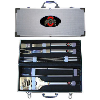 Ohio St. Buckeyes 8 pc Stainless Steel BBQ Set w/Metal Case