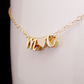 Initials Necklace, Floating Letters and Heart Necklace, Gold and Rose Gold Initial Jewelry, Love Necklace