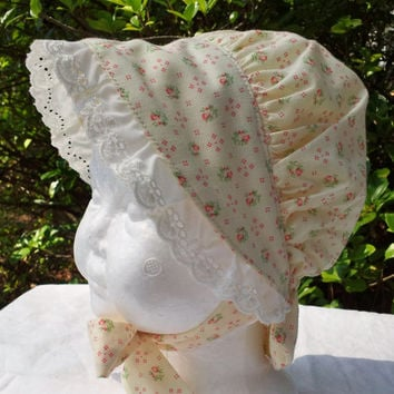 Baby Girls Sun Bonnet, Ivory With Pink Roses and Eyelet Trim, 3 to 6 Months
