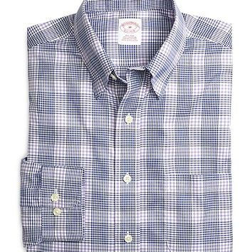 Supima® Cotton Non-Iron Regular Fit Lavender with Blue Twill Sport Shirt - Brooks Brothers