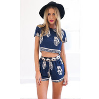 VIP 2016 Women summer two Piece Set Outfits leaves Print O-Neck Short Sleeve crop top and shorts set