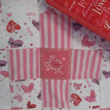 Sweetheart Baby Quilt, Princess Girl Quilt, SweetiePie Baby Girl, Heart Nursery Bedding, PInk and Red Nursery