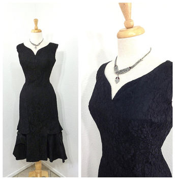 Vintage 1950s dress Lilli Diamond California Black Lace  Glamour Cocktail Gown