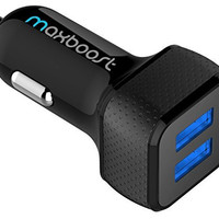 Car Charger, Maxboost 4.8A/24W 2 Smart Port Car Charger [Black] for iPhone 7 6S Plus 6 Plus 6 5SE 5S 5 5C 4S, Samsung Galaxy S7 S6 Edge, Note 7 5 4 S5 Tab S,LG G5 G4,HTC,Nexus 5X 6P,iPads Pro Portable