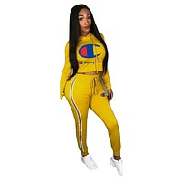 Champion women's solid color wild sports sweater two-piece Yellow
