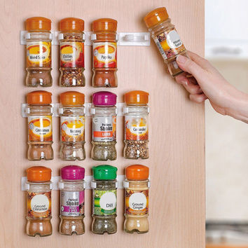 Spice Rack Wall Storage Plastic Kitchen Spice Rack Drawer Organizer 12 Cabinet Door Hooks 3PCS/SET Kitchen Accessories HK004