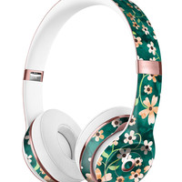 Flowers with Stems over Deep Green Watercolor Full-Body Skin Kit for the Beats by Dre Solo 3 Wireless Headphones