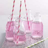 Set Of Four Milk Bottles With Straws