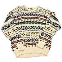 Vintage 90s Cream Christmas Sweater Mens Size Large