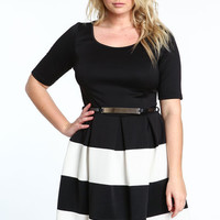 PLUS SIZE SCUBA DRESS WITH GOLD BELT