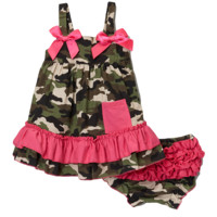 Camo & Hot Pink Swing Top & Diaper Cover Set