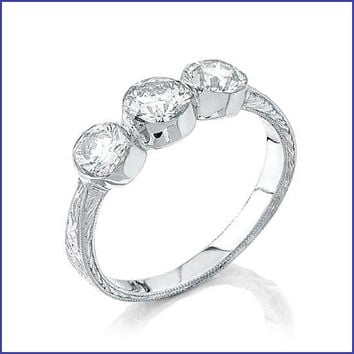 Gregorio 18K White Gold Diamond Ring R-0066